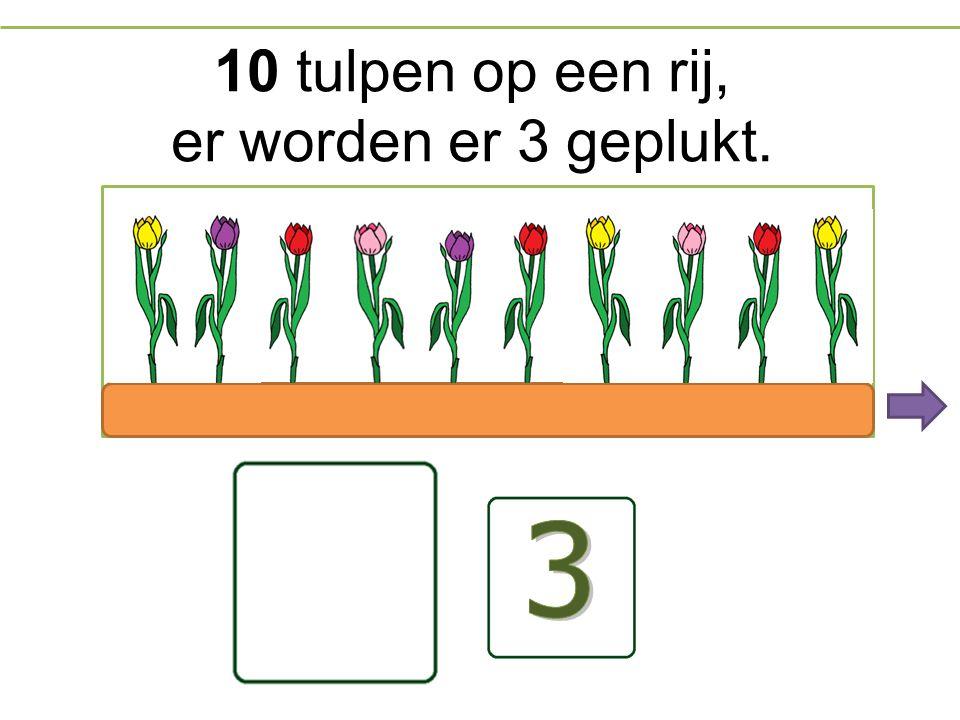 10 tulpen op een rij, er worden er 3 geplukt.