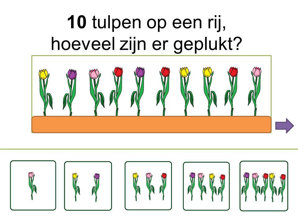 10 tulpen op een rij; hoeveel zijn er geplukt?