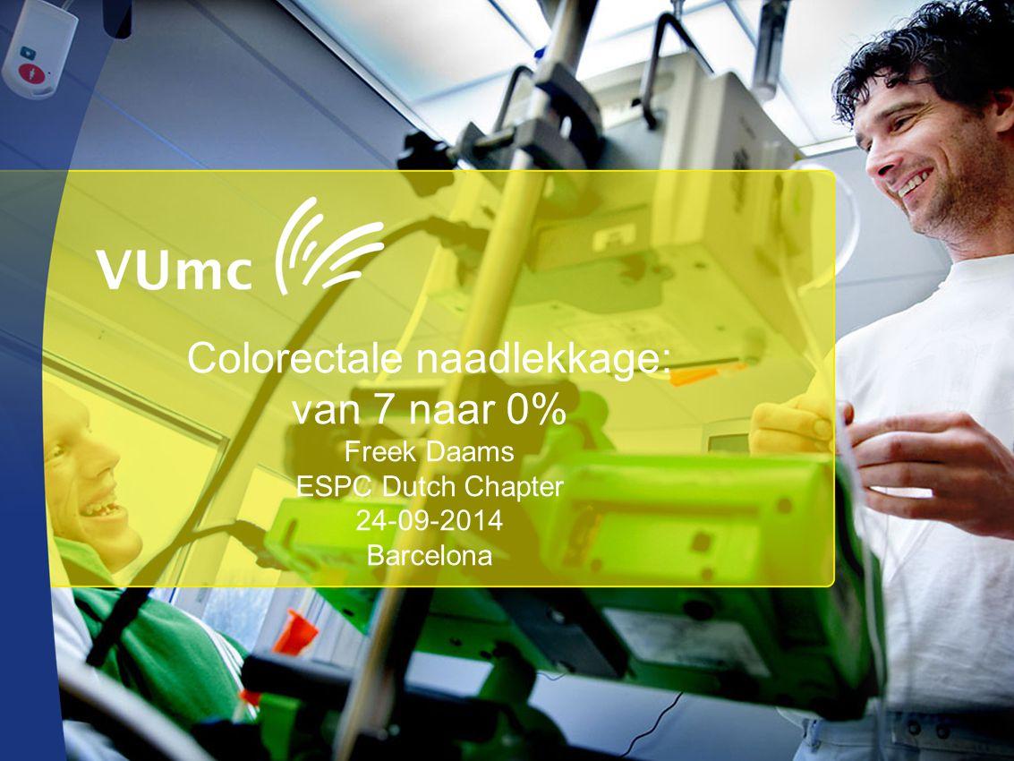 Colorectale naadlekkage: van 7 naar 0% Freek Daams ESPC Dutch Chapter 24-09-2014 Barcelona