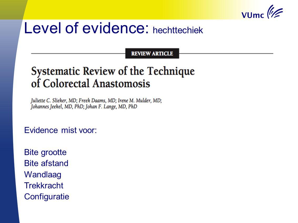Level of evidence: hechttechiek Evidence mist voor: Bite grootte Bite afstand Wandlaag Trekkracht Configuratie