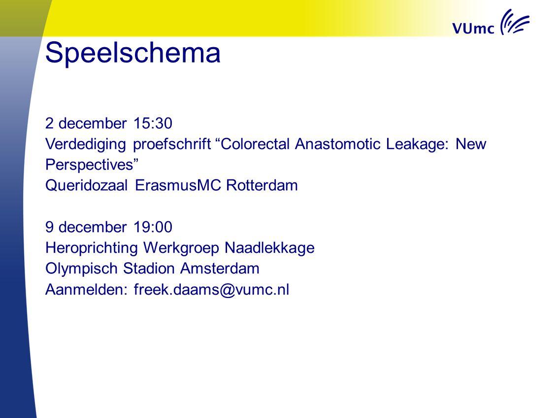 "Speelschema 2 december 15:30 Verdediging proefschrift ""Colorectal Anastomotic Leakage: New Perspectives"" Queridozaal ErasmusMC Rotterdam 9 december 19"
