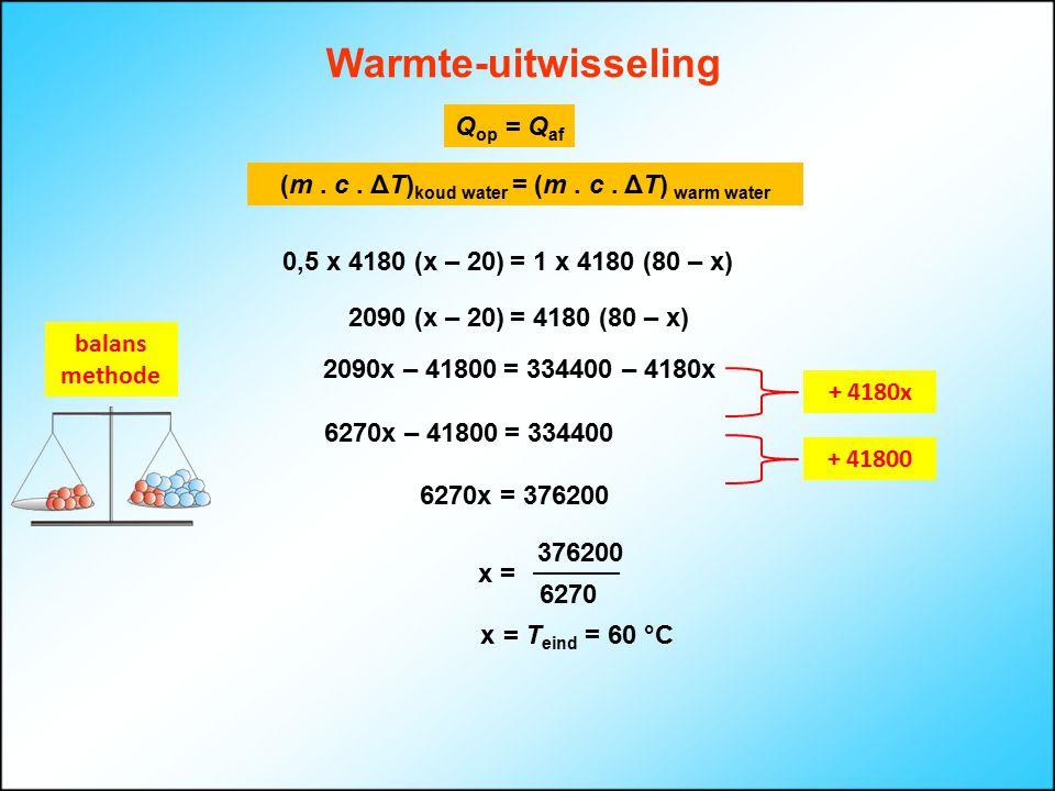 Warmte-uitwisseling Q op = Q af x = T eind = 60 °C (m. c. ΔT) koud water = (m. c. ΔT) warm water 0,5 x 4180 (x – 20) = 1 x 4180 (80 – x) 2090 (x – 20)