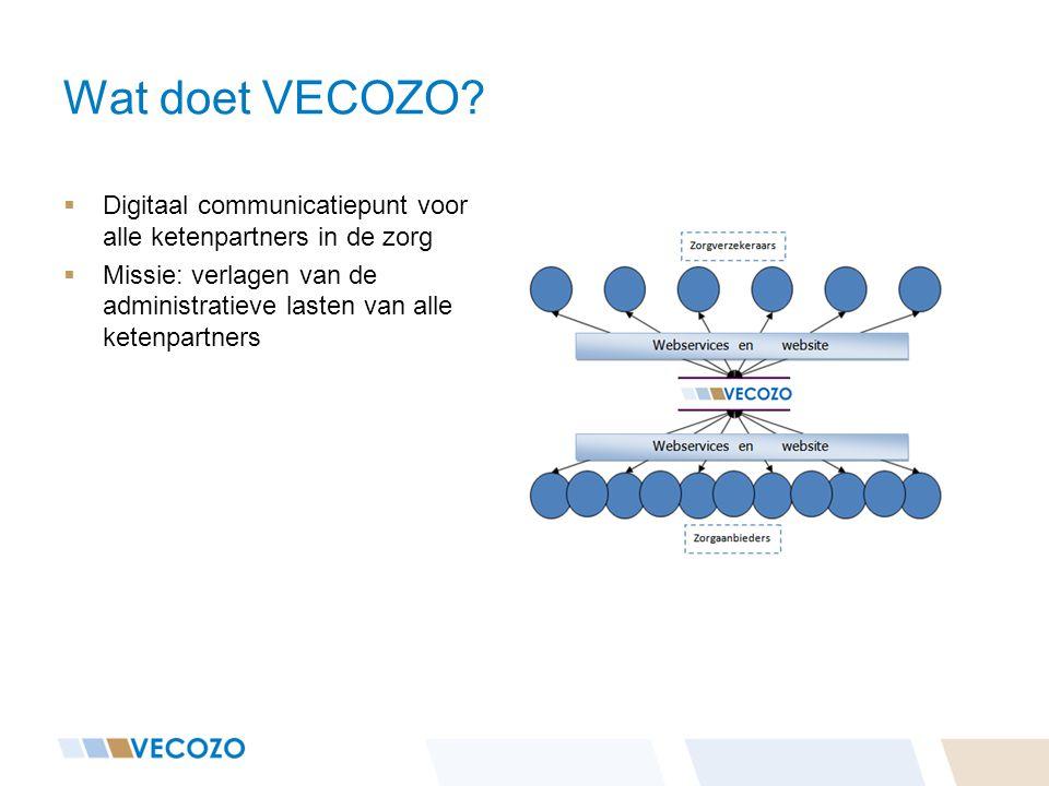Wat doet VECOZO?  Digitaal communicatiepunt voor alle ketenpartners in de zorg  Missie: verlagen van de administratieve lasten van alle ketenpartner
