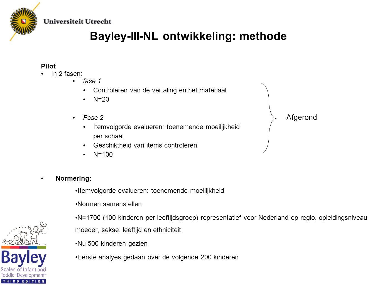 Bayley-III-NL ontwikkeling: resultaten tot nu toe Pilot fase 1 : Ervaren testleiders waren positief over de bruikbaarheid van de Nederlandse Bayley III Gemiddelde US schaalscores per schaal Gemiddelde USGemiddelde PilotGemiddelde N=200 Cognitie1010,4110,66 Taalbegrip1010,1610,34 Taalproductie1010,0810,48 Fijne motoriek1010,7911,21 Grove motoriek107,749,04