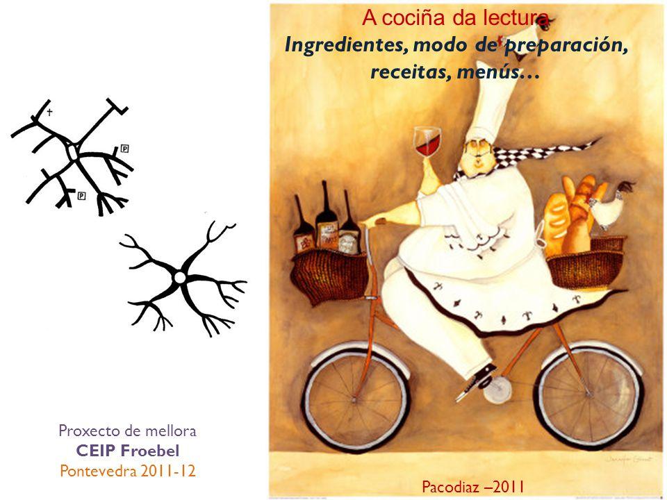 A cociña da lectura Ingredientes, modo de preparación, receitas, menús… Pacodiaz –2011 Proxecto de mellora CEIP Froebel Pontevedra 2011-12