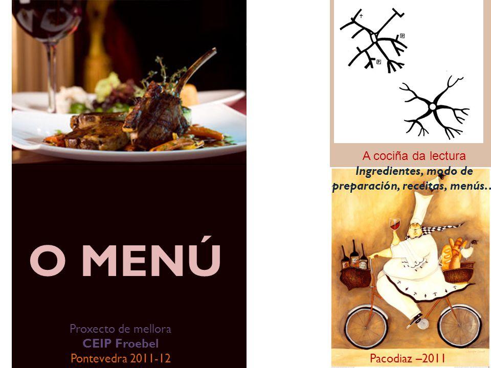 O MENÚ A cociña da lectura Ingredientes, modo de preparación, receitas, menús… Pacodiaz –2011 Proxecto de mellora CEIP Froebel Pontevedra 2011-12
