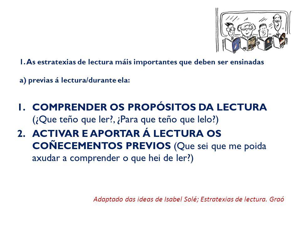 1. As estratexias de lectura máis importantes que deben ser ensinadas a) previas á lectura/durante ela: 1.COMPRENDER OS PROPÓSITOS DA LECTURA (¿Que te