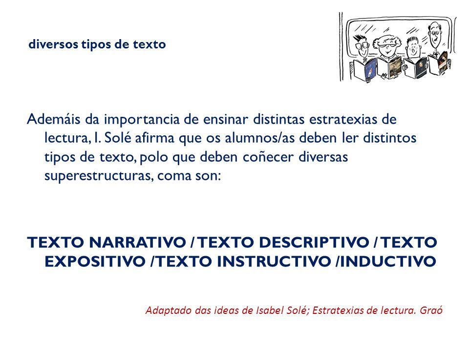 diversos tipos de texto Ademáis da importancia de ensinar distintas estratexias de lectura, I.