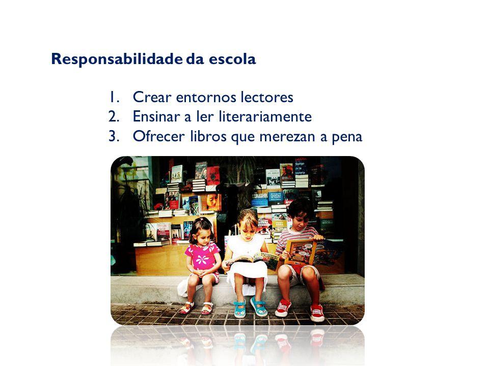 Responsabilidade da escola 1.Crear entornos lectores 2.Ensinar a ler literariamente 3.Ofrecer libros que merezan a pena