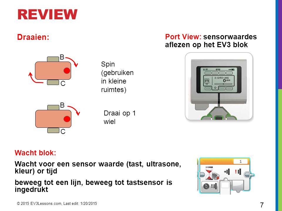 REVIEW Draaien: Wacht blok: Wacht voor een sensor waarde (tast, ultrasone, kleur) or tijd beweeg tot een lijn, beweeg tot tastsensor is ingedrukt Port