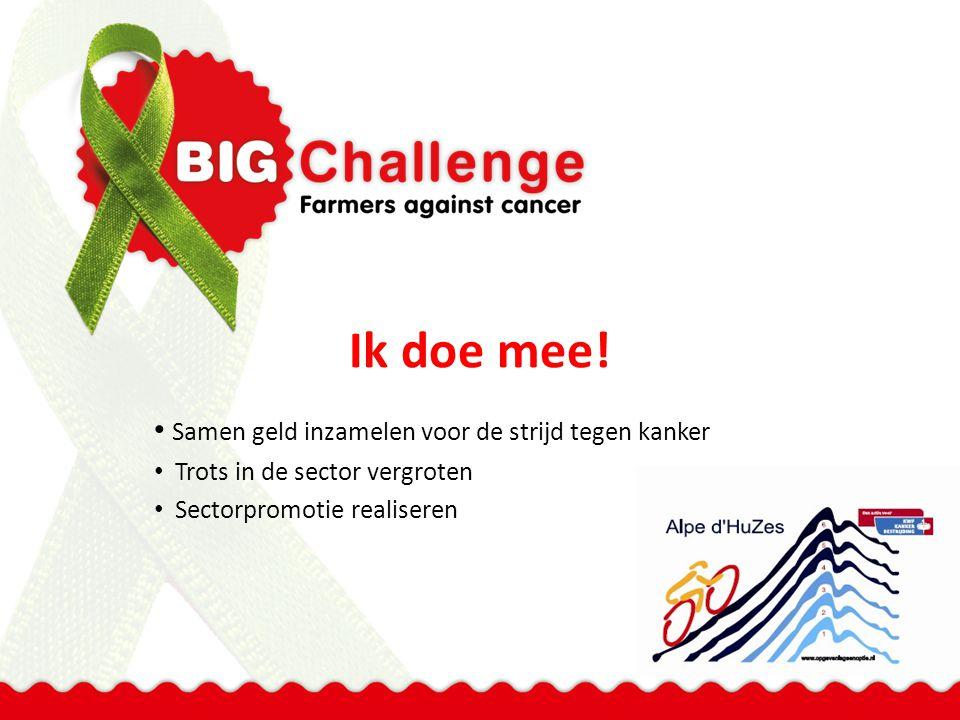 Ik doe mee! Samen geld inzamelen voor de strijd tegen kanker Trots in de sector vergroten Sectorpromotie realiseren