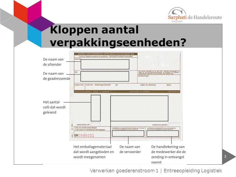 3 Verwerken goederenstroom 1 | Entreeopleiding Logistiek Kloppen aantal verpakkingseenheden?