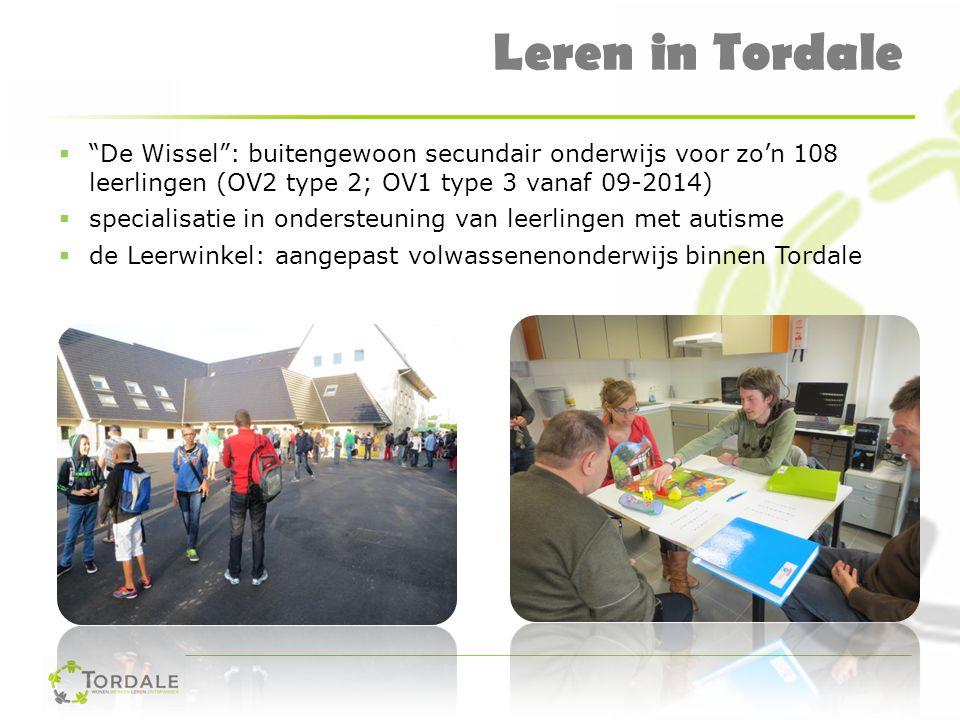 """Leren in Tordale  """"De Wissel"""": buitengewoon secundair onderwijs voor zo'n 108 leerlingen (OV2 type 2; OV1 type 3 vanaf 09-2014)  specialisatie in on"""