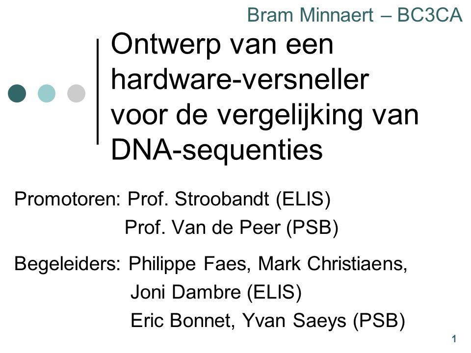 1 Ontwerp van een hardware-versneller voor de vergelijking van DNA-sequenties Promotoren: Prof.