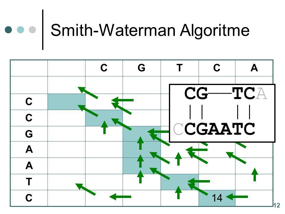 12 Smith-Waterman Algoritme 14C T A A G C C ACTGC CG——TCA || || CCGAATC
