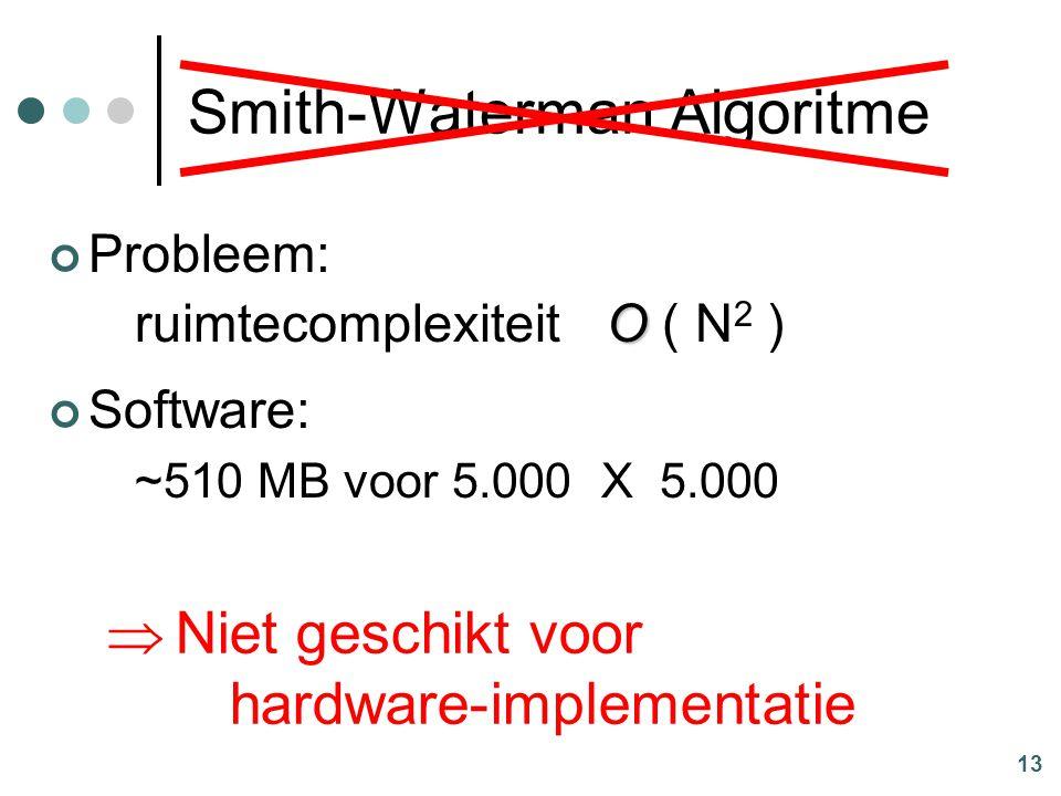13 Smith-Waterman Algoritme Probleem: O ruimtecomplexiteit O ( N 2 ) Software: ~510 MB voor 5.000 X 5.000  Niet geschikt voor hardware-implementatie