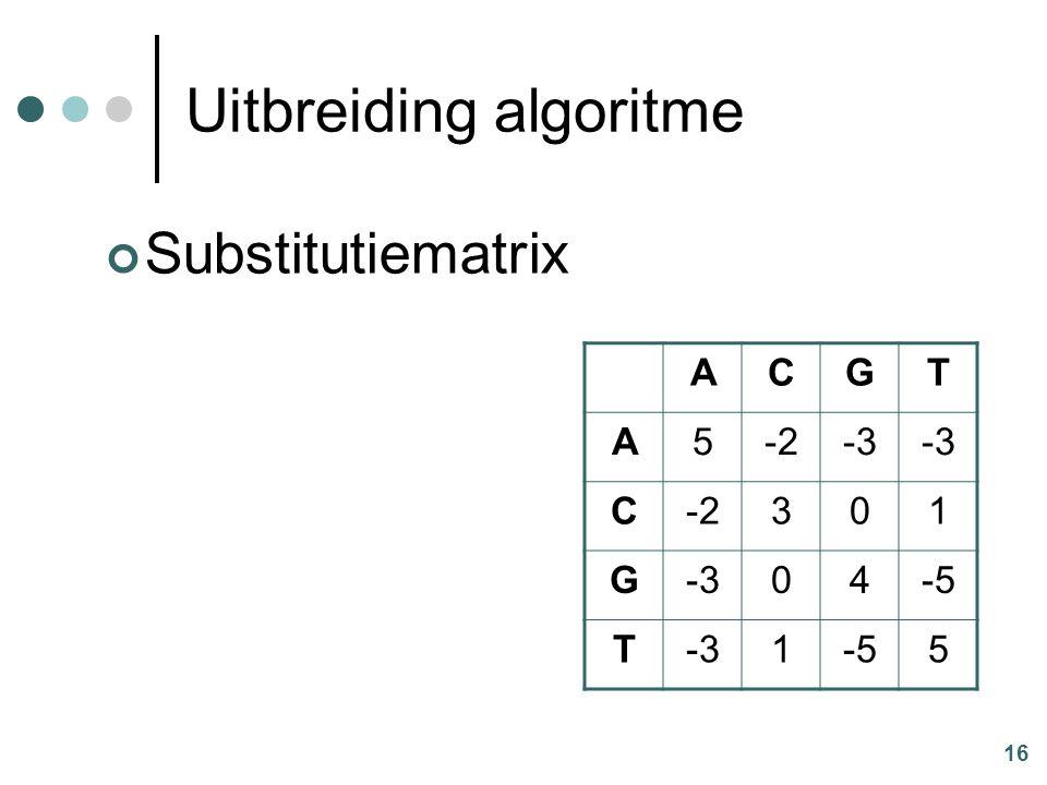 16 Uitbreiding algoritme Substitutiematrix ACGT A5-2-3 C-2301 G-304-5 T-31-55