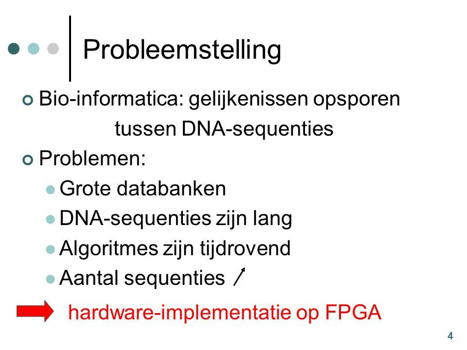 4 Probleemstelling Bio-informatica: gelijkenissen opsporen tussen DNA-sequenties Problemen: Grote databanken DNA-sequenties zijn lang Algoritmes zijn tijdrovend Aantal sequenties hardware-implementatie op FPGA