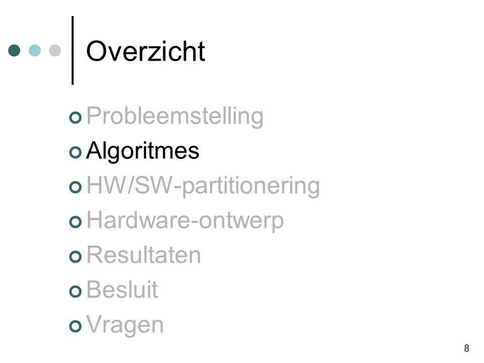 8 Overzicht Probleemstelling Algoritmes HW/SW-partitionering Hardware-ontwerp Resultaten Besluit Vragen