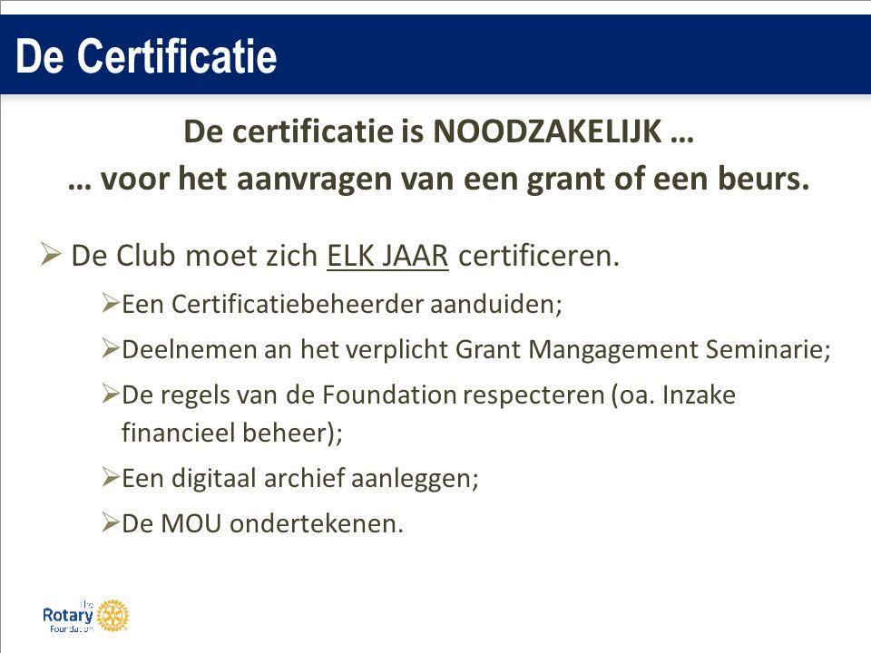 De Certificatie De certificatie is NOODZAKELIJK … … voor het aanvragen van een grant of een beurs.