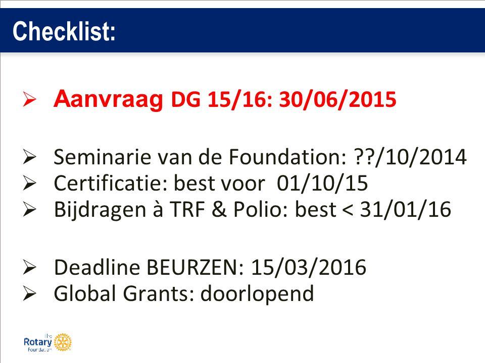 Checklist:  Aanvraag DG 15/16: 30/06/2015  Seminarie van de Foundation: /10/2014  Certificatie: best voor 01/10/15  Bijdragen à TRF & Polio: best < 31/01/16  Deadline BEURZEN: 15/03/2016  Global Grants: doorlopend