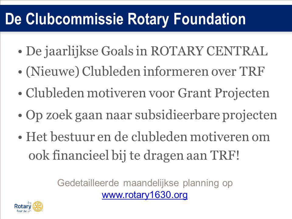 De jaarlijkse Goals in ROTARY CENTRAL (Nieuwe) Clubleden informeren over TRF Clubleden motiveren voor Grant Projecten Op zoek gaan naar subsidieerbare projecten Het bestuur en de clubleden motiveren om ook financieel bij te dragen aan TRF.