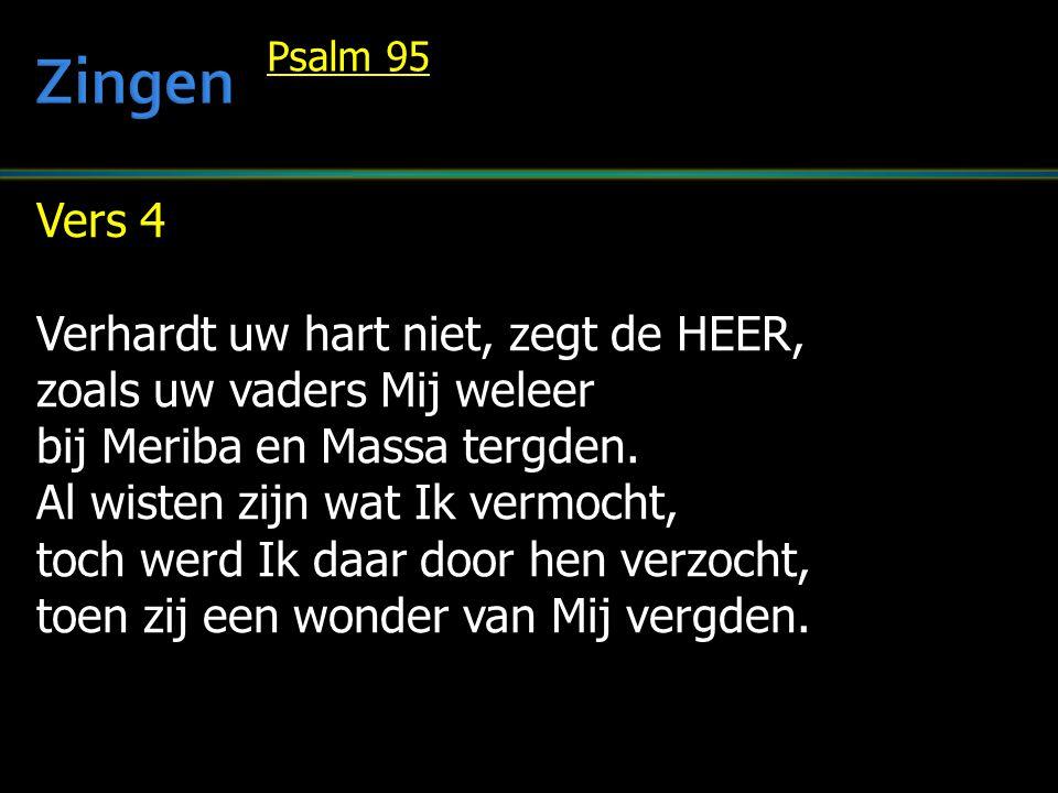 Vers 4 Verhardt uw hart niet, zegt de HEER, zoals uw vaders Mij weleer bij Meriba en Massa tergden.