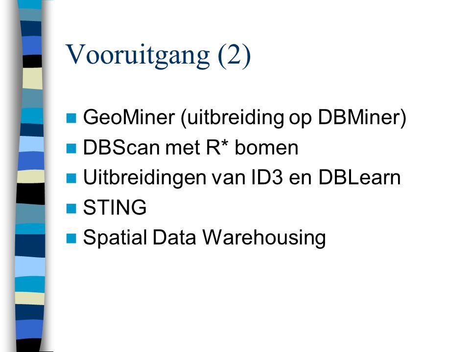 Vooruitgang (2) GeoMiner (uitbreiding op DBMiner) DBScan met R* bomen Uitbreidingen van ID3 en DBLearn STING Spatial Data Warehousing