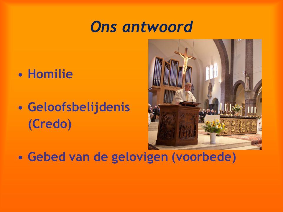 Ons antwoord Homilie Geloofsbelijdenis (Credo) Gebed van de gelovigen (voorbede)