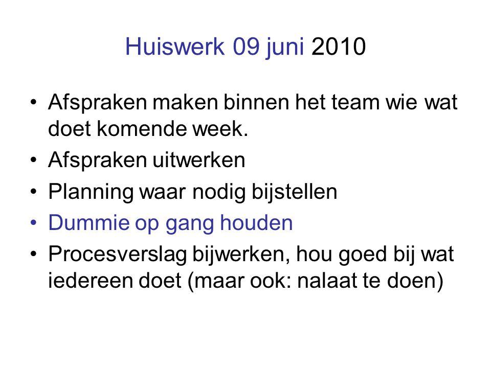 Huiswerk 09 juni 2010 Afspraken maken binnen het team wie wat doet komende week. Afspraken uitwerken Planning waar nodig bijstellen Dummie op gang hou