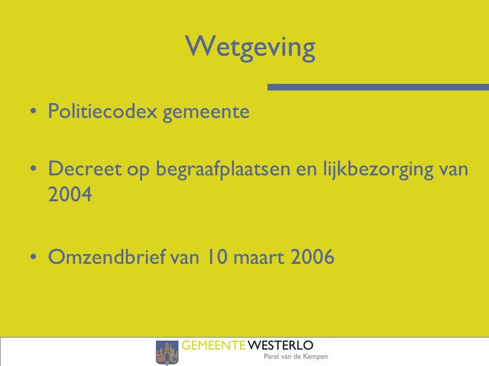 Wetgeving Politiecodex gemeente Decreet op begraafplaatsen en lijkbezorging van 2004 Omzendbrief van 10 maart 2006