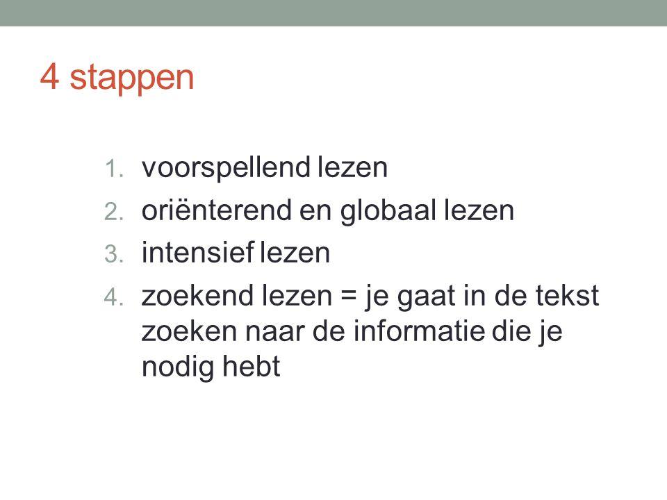 4 stappen 1.voorspellend lezen 2. oriënterend en globaal lezen 3.
