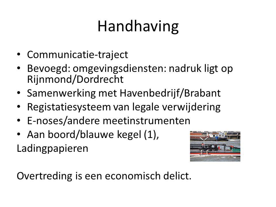 Handhaving Communicatie-traject Bevoegd: omgevingsdiensten: nadruk ligt op Rijnmond/Dordrecht Samenwerking met Havenbedrijf/Brabant Registatiesysteem