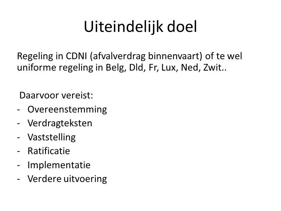 Uiteindelijk doel Regeling in CDNI (afvalverdrag binnenvaart) of te wel uniforme regeling in Belg, Dld, Fr, Lux, Ned, Zwit.. Daarvoor vereist: -Overee