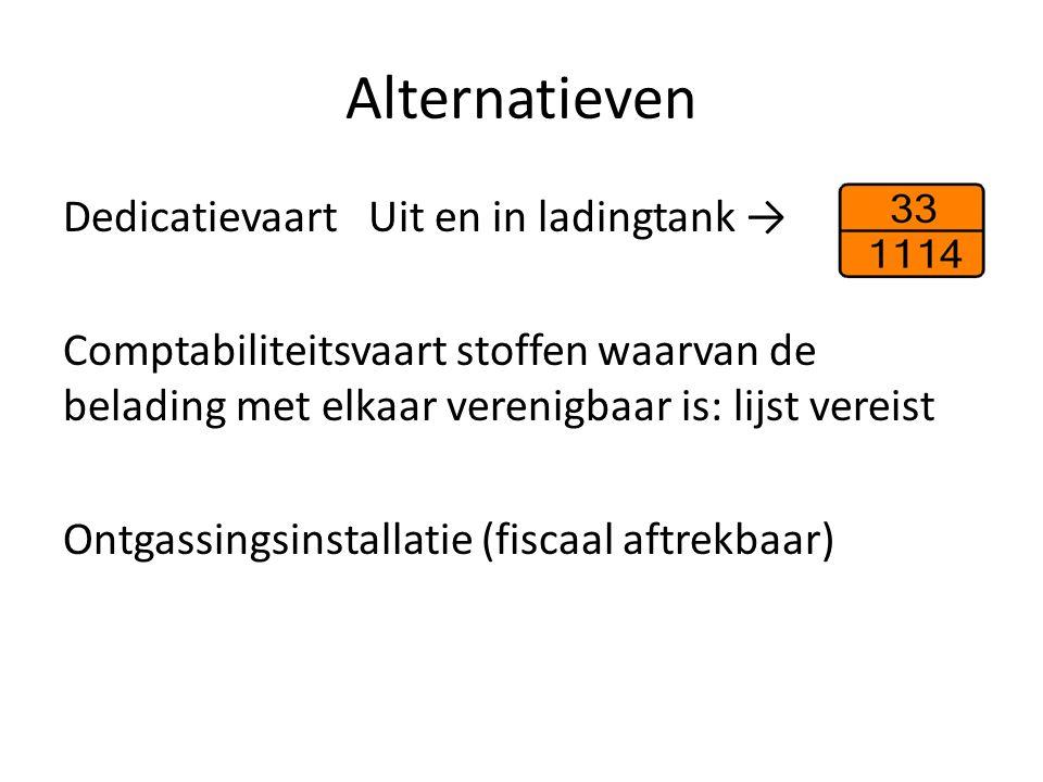 Alternatieven Dedicatievaart Uit en in ladingtank → Comptabiliteitsvaart stoffen waarvan de belading met elkaar verenigbaar is: lijst vereist Ontgassi