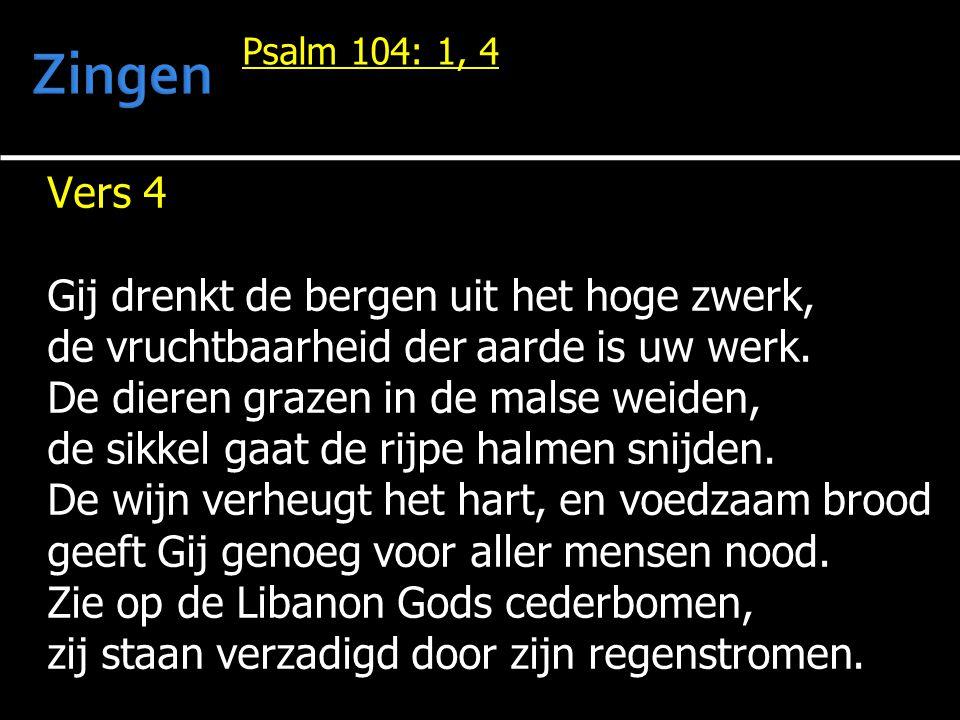 Psalm 104: 1, 4 Vers 4 Gij drenkt de bergen uit het hoge zwerk, de vruchtbaarheid der aarde is uw werk.