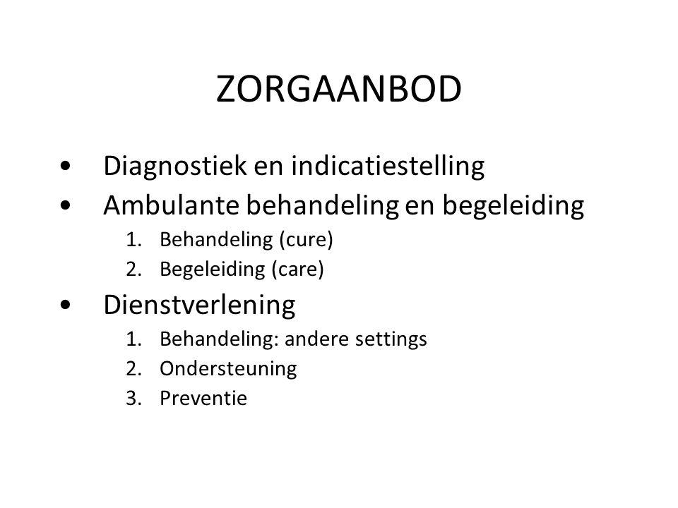 ZORGAANBOD Diagnostiek en indicatiestelling Ambulante behandeling en begeleiding 1.Behandeling (cure) 2.Begeleiding (care) Dienstverlening 1.Behandeli