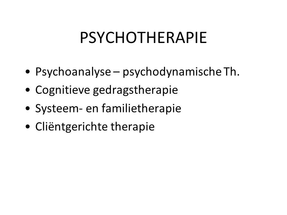 PSYCHOTHERAPIE Psychoanalyse – psychodynamische Th. Cognitieve gedragstherapie Systeem- en familietherapie Cliëntgerichte therapie
