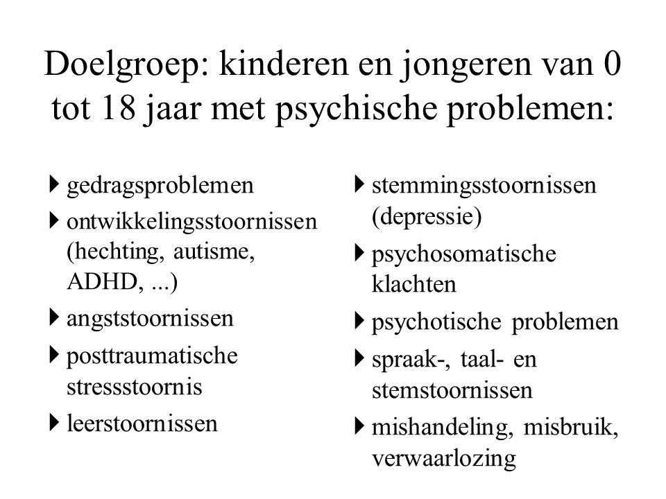  gedragsproblemen  ontwikkelingsstoornissen (hechting, autisme, ADHD,...)  angststoornissen  posttraumatische stressstoornis  leerstoornissen  s