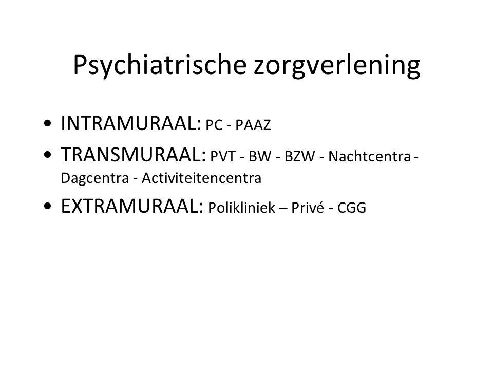 Psychiatrische zorgverlening INTRAMURAAL: PC - PAAZ TRANSMURAAL: PVT - BW - BZW - Nachtcentra - Dagcentra - Activiteitencentra EXTRAMURAAL: Poliklinie
