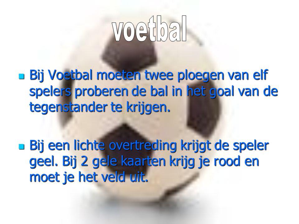 Bij Voetbal moeten twee ploegen van elf spelers proberen de bal in het goal van de tegenstander te krijgen. Bij Voetbal moeten twee ploegen van elf sp