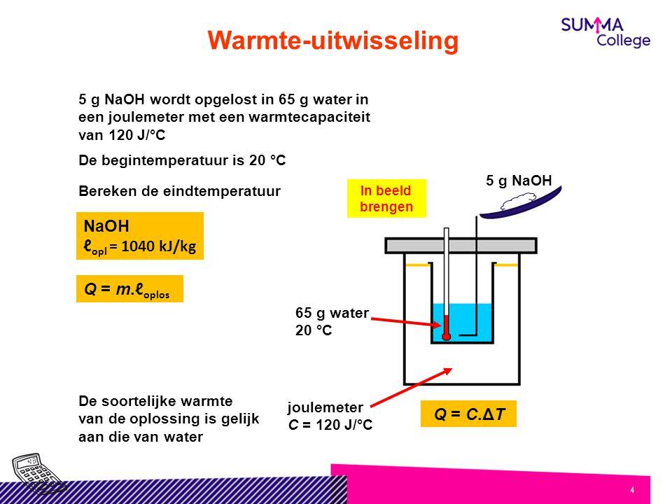 4 5 g NaOH wordt opgelost in 65 g water in een joulemeter met een warmtecapaciteit van 120 J/°C De begintemperatuur is 20 °C Bereken de eindtemperatuur 5 g NaOH In beeld brengen joulemeter C = 120 J/°C 65 g water 20 °C NaOH ℓ opl = 1040 kJ/kg De soortelijke warmte van de oplossing is gelijk aan die van water Q = m.ℓ oplos Q = C.ΔT Warmte-uitwisseling