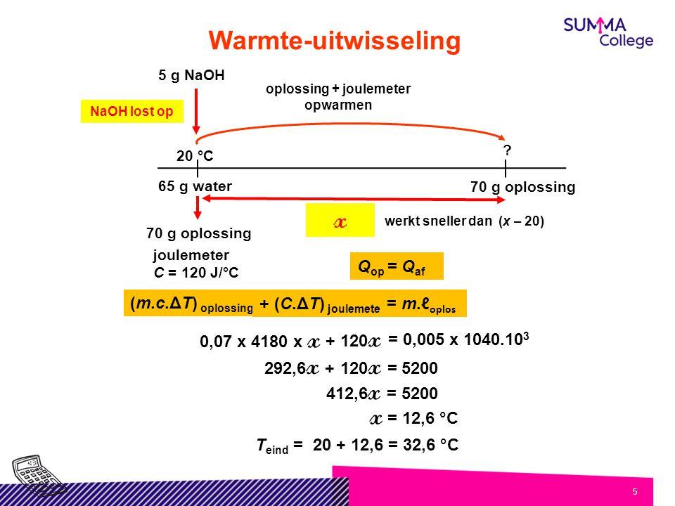 5 ? 20 °C 65 g water 70 g oplossing NaOH lost op 5 g NaOH oplossing + joulemeter opwarmen (m.c.ΔT) oplossing 0,07 x 4180 x x = 0,005 x 1040.10 3 + 120