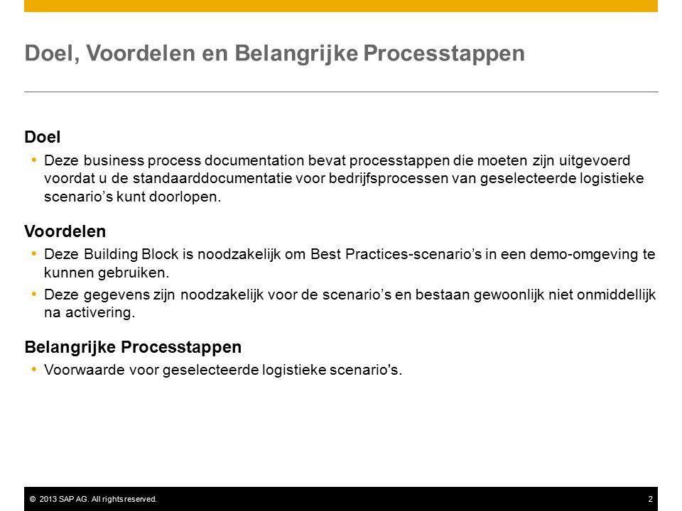 ©2013 SAP AG. All rights reserved.2 Doel, Voordelen en Belangrijke Processtappen Doel  Deze business process documentation bevat processtappen die mo