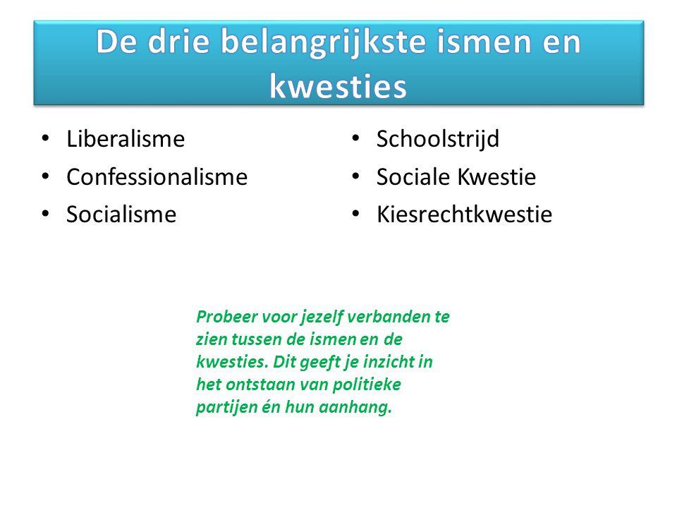 Liberalisme Confessionalisme Socialisme Schoolstrijd Sociale Kwestie Kiesrechtkwestie Probeer voor jezelf verbanden te zien tussen de ismen en de kwesties.