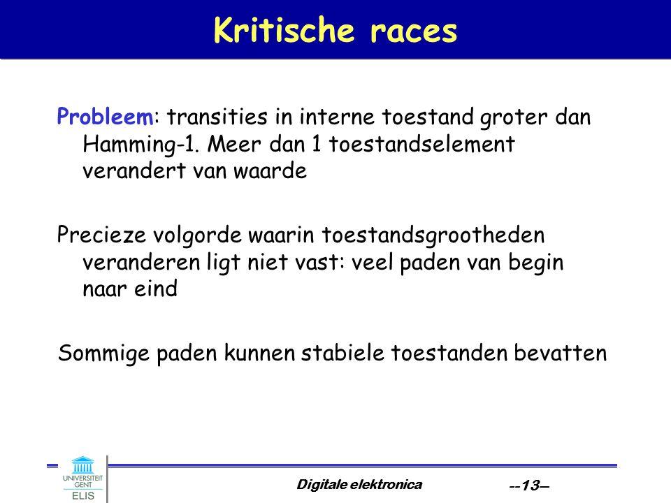 Digitale elektronica --13-- Kritische races Probleem: transities in interne toestand groter dan Hamming-1.