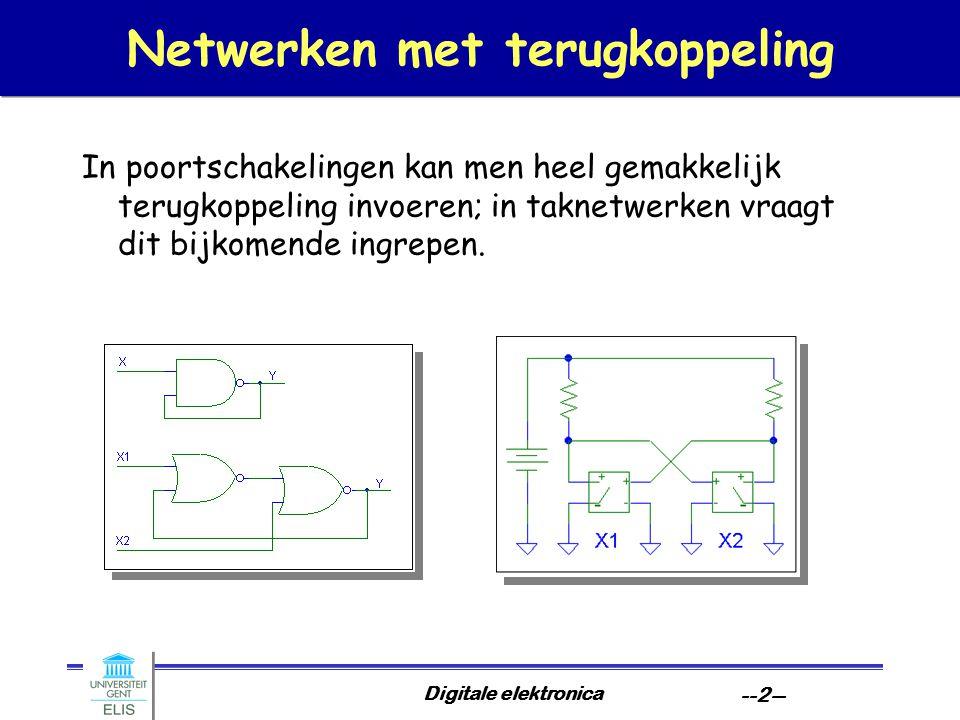 Digitale elektronica --2-- Netwerken met terugkoppeling In poortschakelingen kan men heel gemakkelijk terugkoppeling invoeren; in taknetwerken vraagt dit bijkomende ingrepen.