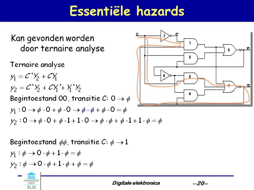 Digitale elektronica --20-- Essentiële hazards Kan gevonden worden door ternaire analyse