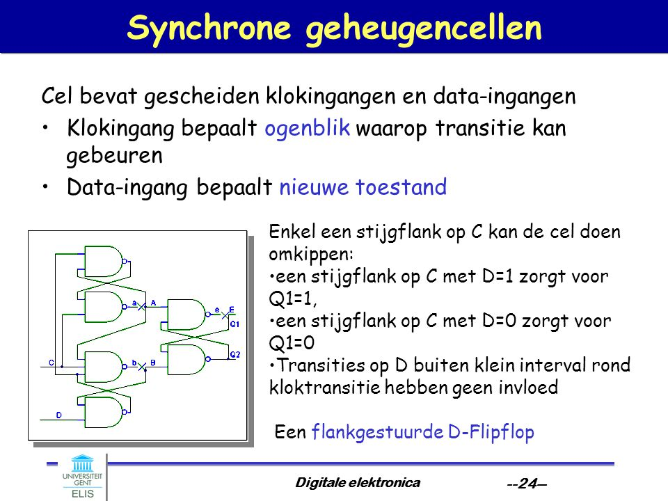 Digitale elektronica --24-- Synchrone geheugencellen Cel bevat gescheiden klokingangen en data-ingangen Klokingang bepaalt ogenblik waarop transitie kan gebeuren Data-ingang bepaalt nieuwe toestand Enkel een stijgflank op C kan de cel doen omkippen: een stijgflank op C met D=1 zorgt voor Q1=1, een stijgflank op C met D=0 zorgt voor Q1=0 Transities op D buiten klein interval rond kloktransitie hebben geen invloed Een flankgestuurde D-Flipflop