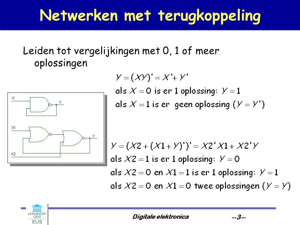 Digitale elektronica --14-- Kritische races Voorbeeld als 11.010 of 11.111 stabiel zouden zijn, is correcte werking niet gegarandeerd Oplossing: beperk overgangen tot Hamming-1    11.110 11.011 01.011 11.111 01.111 01.110 C- C+  11.010 C+ 